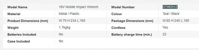 Makita 18V impact wrench